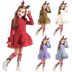 Winter Toddler Kids Girls Crochet Christmas Sweater Knit Dress+Hairbands Clothes