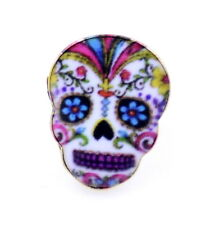 Vintage retro style enamel flower skull  pin / brooch