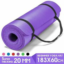 183*60cm Non-Slip Tasteless Fitness Pilates Thick Yoga Mat Home Exercise 20mm