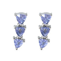 Trillion Shape Tanzanite Gemstone 925 Sterling Silver Women Wedding Stud Earring