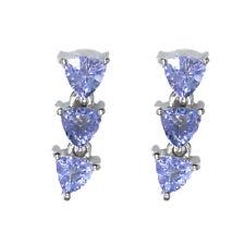 Trillion Shape Tanzanite Gemstone 925 Sterling Silver Women Wedding Stud Earring