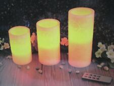 "BNIB ""COSCAPE"" 3 CARVED WAX FLAMELESS LED VANILLA SCENTED CANDLES w/8 KEY REMOTE"