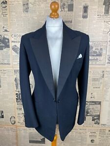 Vintage bespoke 1930's barathea dinner black tie DJ suit size 40 42