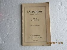 LA BOHEME-LIBRETTO IN ENGLISH-RICORDI-1959