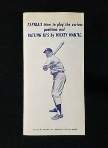 1962 Mickey Mantle Alvarn Batting Tips Vintage Booklet with Training Set Ad EX