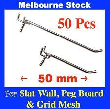 PS-H  50x PegBoard Hook 50 mm For Slat Wall Peg Board Panel Grid Mesh hooks
