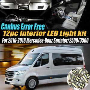 12Pc Error Free White Interior LED Light Kit for 2010-18 Mercedes-Benz Sprinter