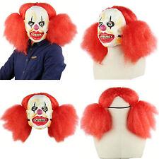 Halloween Men Mask Clown Cosplay Costume Evil Red Hair Ghost Monster Fancy Dress