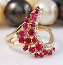 2.35 Carat Natural Red Ruby and Diamonds in 14K Solid Yellow Gold Ring