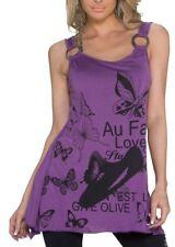 SeXy MiSS Damen Girly Trend Long Top Tunika Butterfly Print Shirt 34/36/38 lila