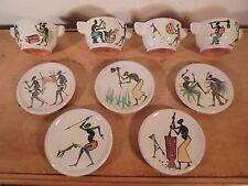 Céramique Vintage 50 Rare Groupe Tasses Café Africaniste tribal Poto-Poto Congo
