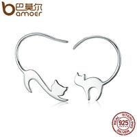 Bamoer S925 Sterling Silver Stud earrings naughty cute Cat For Women Jewelry