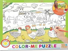 Jigsaw Puzzle Color Me Farm 100 pieces NEW Paint it Yourself Stress Relief