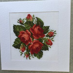 Large Completed Floral Cross Stitch Card Red Roses