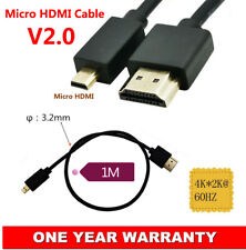 V2.0 Micro HDMI to HDMI Adapter Cable 4K*2K @60Hz UltraHD High Speed Super Slim