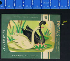 1950s Black & White Swans Vintage Meyercord Decal Transfers # X 302-D