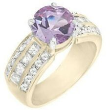 18K GOLD EP 4.0CT DIAMOND SIMULATED AMETHYST RING 6 M