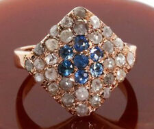Victorian 925 Silver Cocktail Ring 2.80cts Rose Cut Diamond Sapphire Antique
