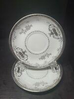 """Pair(2) Hayasi Kutani Fine China hand painted saucers 5.5"""" Platinum on White"""