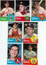 1963 baseball CARDINALS vintage Topps  partial team set 13 cards lot
