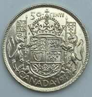 1943 Canadian 50 Cent Half Dollar .800 Silver Lustre Remains Die Cracks   MP182