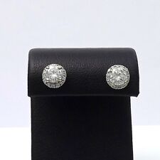 New with Tags 1.21ctw Round Diamond Halo Lock Backs Stud Earrings 14k Gold 1.5gr