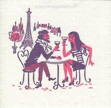 2 Cocktail Papier Servietten Napkins (E12-3) Mann und Frau in Paris  Einl.