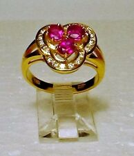 Genuine Ruby Solid 14-kt Gold Ring with Diamonds, Size 7, Gorgeous (#3151)