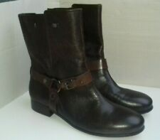 M&S AUTOGRAPH boots size 8 brown leather mid calf low block buckle zip up casual