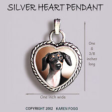 DACHSHUND DOG Smooth Piebald Doxie - Ornate HEART PENDANT Tibetan Silver