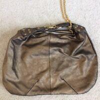 Botkier Metallic Gold Black Leather Zip  Hobo Purse shoulder Handbag Tote (p7)