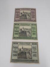 1920 Austria Wachauer  set of 10 20 and 50 Heller Notgeld / Banknotes