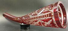 Bleikristall Liege Vase Hornvase rot Vintage Überfang 70er Jahre 38,5cm 12DLV