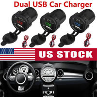Lots 12/24V 4.2A Dual 2USB Car Motor Charger Socket Adapter Outlet LED Voltmeter