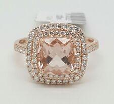 14k Rose Gold Diamond & Cushion Pink Morganite Halo Engagement Ring 2.71 TCW