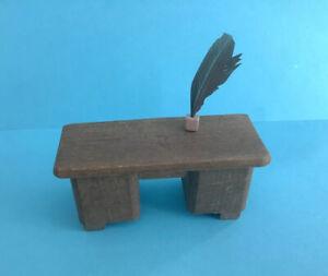 Vintage Dolls House Wooden Desk & Quill
