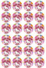 24 x Hello Kitty Edible Cupcake Toppers Pre-Cut