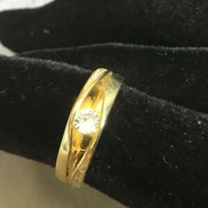 GOLD-PLATED STERLING SILVER SIMULATED DIAMOND RING