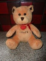 RETRO LINDT SOFT TOY TEDDY BEAR WITH LOVE HEART & BOW VERY GOOD CONDITION
