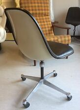 EAMES LEDER SIDE SHELL STUHL CHAIR MILLER VITRA SCHWARZ LEATHER