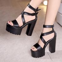 Black Women Strappy Super High Heel Fashion Platform Wedge Sandals Shoes Fashion