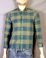 vtg 50s 60s Penney's Towncraft Green/Blue Check Button Down Dress Shirt Teen 16