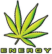 MARIJUANA ENERGY MONSTER DECAL SIZE 100MM BY 104MM GLOSS LAMINATED CONTOUR CUT