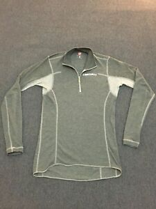Casetelli Rosso Corsa Cycling Base Layer Long Sleeve 1/4 Zip / Mens Large L Grey