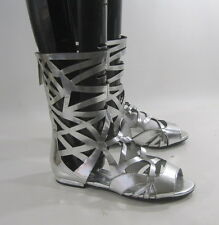 Silver Womens Shoes Roman Gladiator Mid-Calf Sexy Sandals Size 10