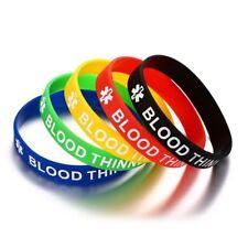 Emergency Alert Id Bracelet 5 Pcs /Set Medical Engraving Blood Thinner Silicone