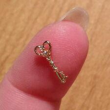 1pc Miniature Tiny Little Crystal Heart Gold Key Pendant Charm 12x5mm Findings