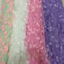 3D Chiffon Flowers Mesh Lace Fabric Handmade Wedding Dress 100*150 CM Fashion