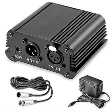 1-Channel 48V Phantom Power Supply With Adapter For Any Condenser Mic US Plug