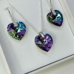 925 Silver Heart Necklace Earring Vitrail Lt Set Made With Swarovski® Crystal